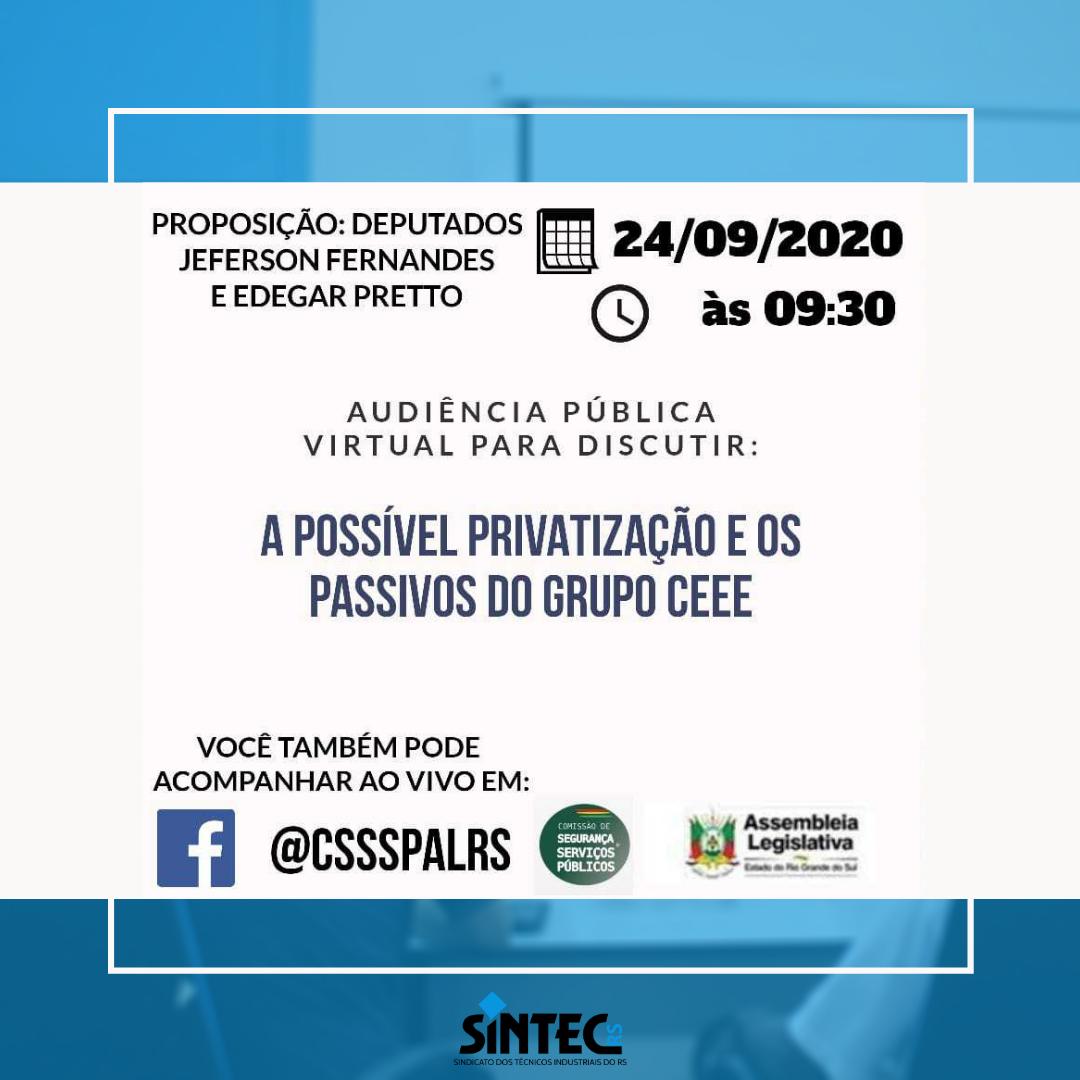 Audiência Pública Virtual Vai Discutir Possível Privatização Da CEEE