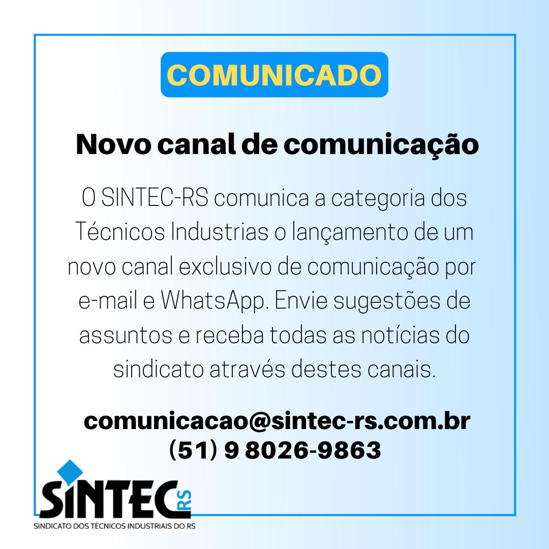 SINTEC-RS Disponibiliza Novo Canal De Comunicação