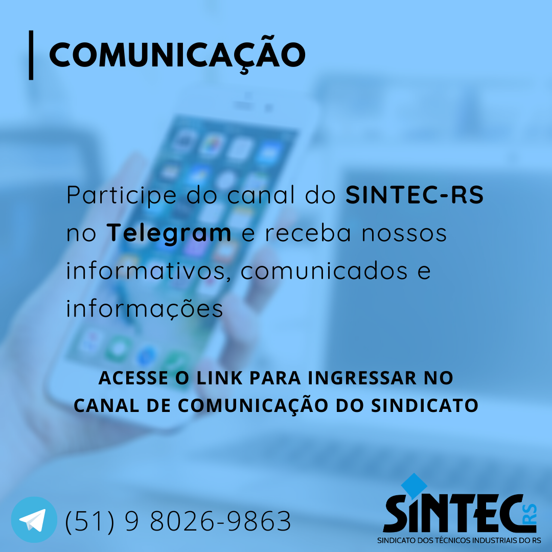 Participe Do Canal Do SINTEC-RS No Telegram